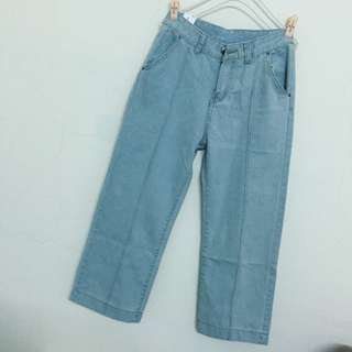 New復古淺色高腰牛仔寬褲
