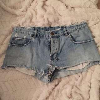 "Ksubi Size 27""/9 Denim Frayed Shorts"