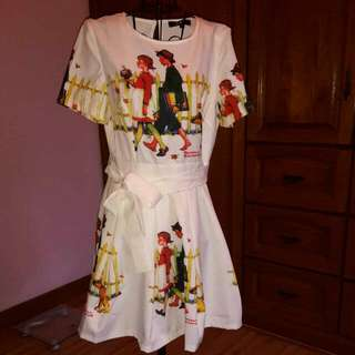 Cream Dress With Art Design