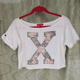 Padini Authentic Oversized 'X' Crop Top