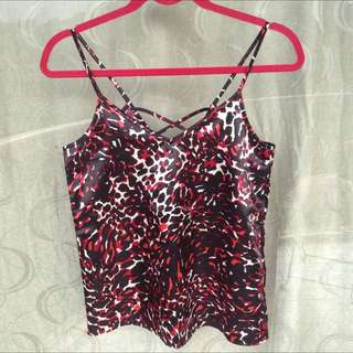 H&M Red Leopard Print Silky Top