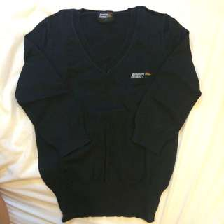 Benetton V領黑針織衫 S號 女款