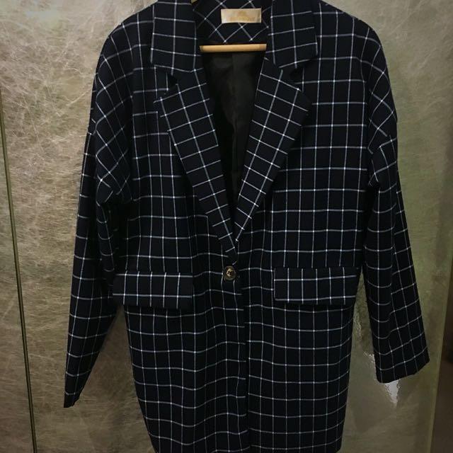 2️⃣✋🏻藍黑色格紋長版西裝外套😎春秋超百搭🍂