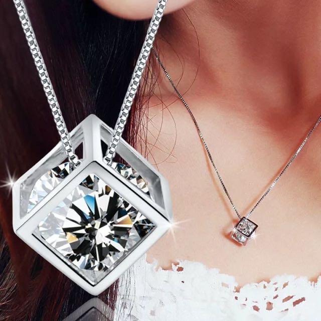 永恆魔方*鎖骨項鍊-925純銀鋯石