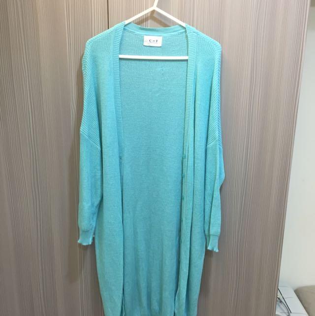 藍綠色長版針織外套