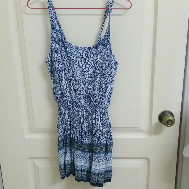 夏日民族風細肩棉質藍色系洋裝