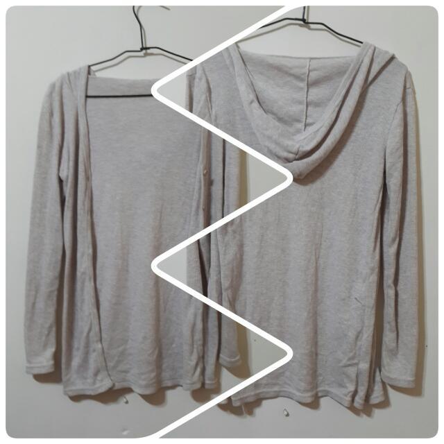 ✌長版淺灰薄罩衫