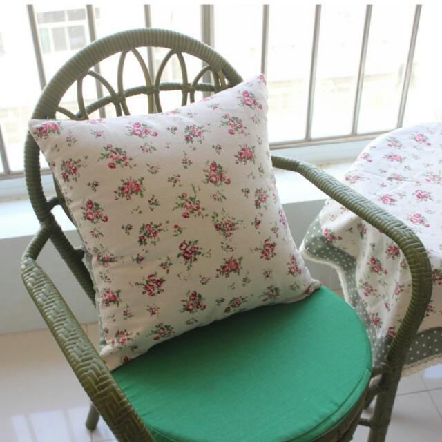 玫瑰花棉麻抱枕靠墊靠背套床頭抱枕沙發抱枕套棉定做45×45