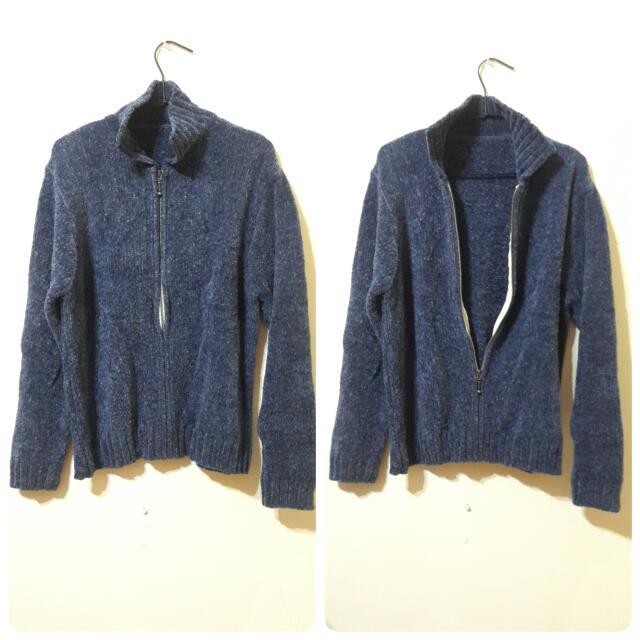 💯藍色針織毛衣外套