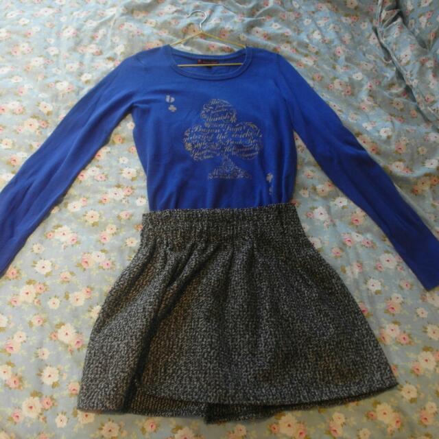 百貨公司專櫃買的藍色細針織撲克牌黑桃圖樣上衣