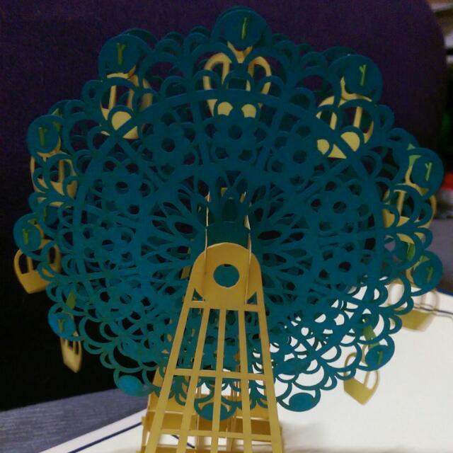 立體雕刻創意卡片(藍色摩天輪)