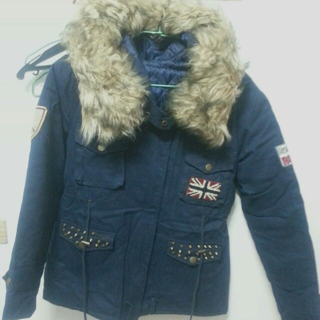 【全新】韓版時尚軍藍超保暖大衣