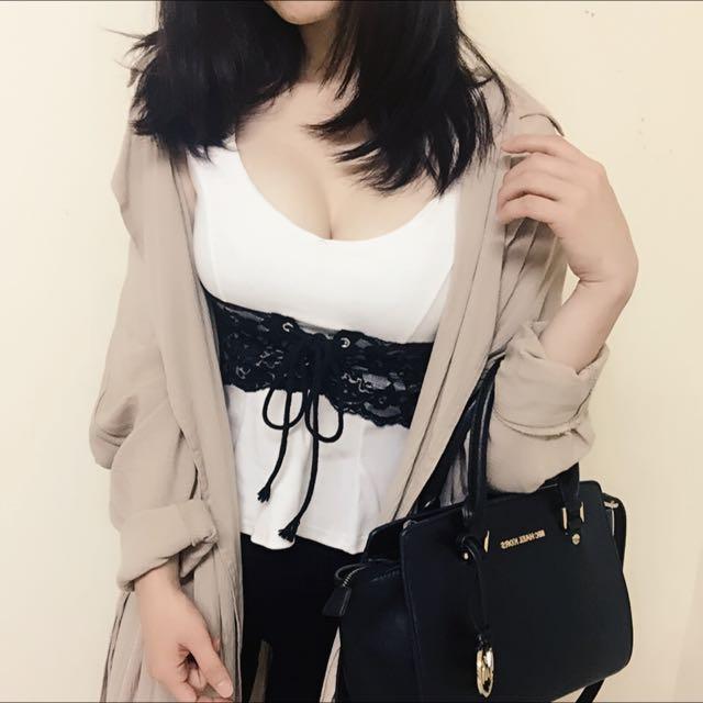 韓國製顯瘦蕾絲馬甲綁帶羅紋上衣 全新