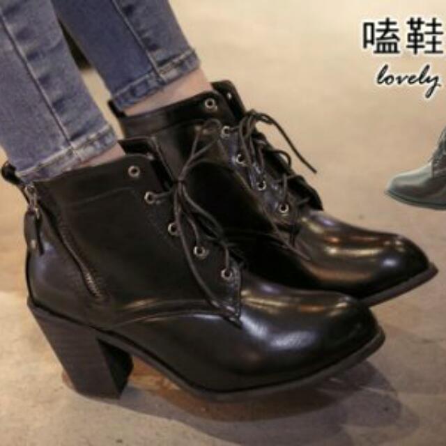 含運 黑色 斜拉鍊綁帶高跟短靴