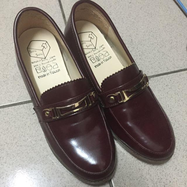 酒紅色亮皮 鞋