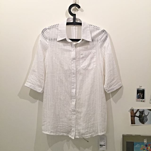 💥【長版襯衫】透條長版素衫 白色 小外套