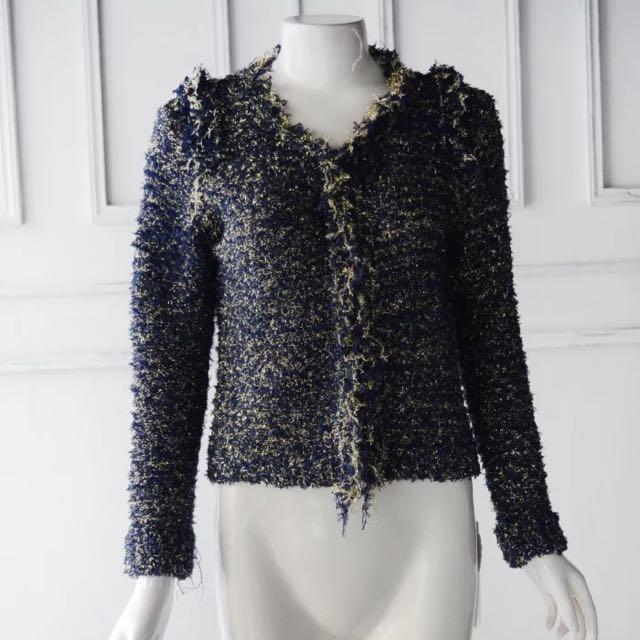 全新小香風 針織外套 (黑&深藍)兩色