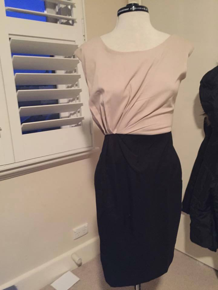 Cream and black evening dress Size 8