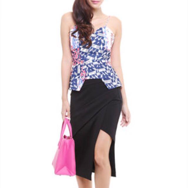 MDS Sleek Striped Skirt In Black