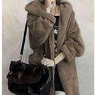 🚚 韓風加厚連帽羊羔絨大衣開衫外套
