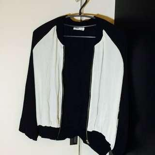 黑白骷髏雪紡棒球外套