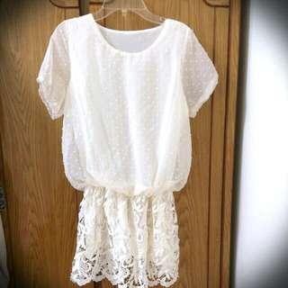 降價!氣質典雅清新雪紡紗蕾絲洋裝