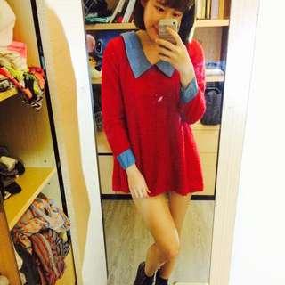可愛亮紅假兩件式上衣