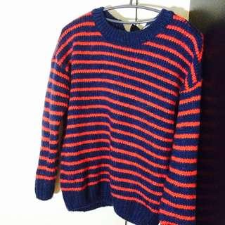 藍紅條紋針織毛衣