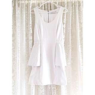 Shakuhachi White Peplum Dress With Leather Sides