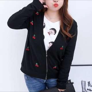 Plus Size Black Jacket With Cherry Prints
