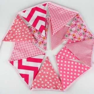 三角旗韓版粉色棉布三角旗 露營 生日裝飾串旗 拍照彩旗 婚禮拉旗裝飾品