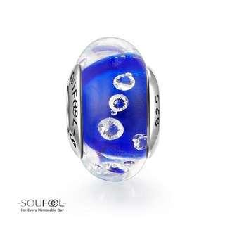 郵寄免運☆正品現貨☆SOUFEEL 索菲爾 925純銀串珠 內崁鋯石 藍色海洋 琉璃串珠 Pandora適用 紫