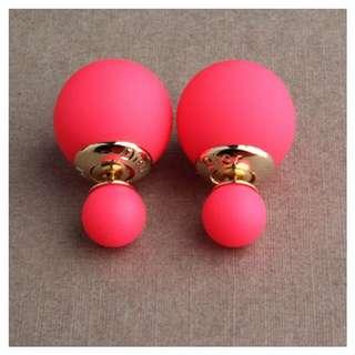 磨砂金屬雙色珍珠耳環