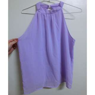 粉紫雪紡削肩背心上衣