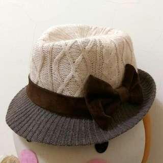 🐼 全新 🐼 秋冬 日本帶回 蝴蝶節 編織毛帽
