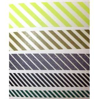 [分裝紙膠帶] mt 紙膠帶 絕版斜紋五款組合 100cm 螢光綠/茶/煙灰/黑/墨綠