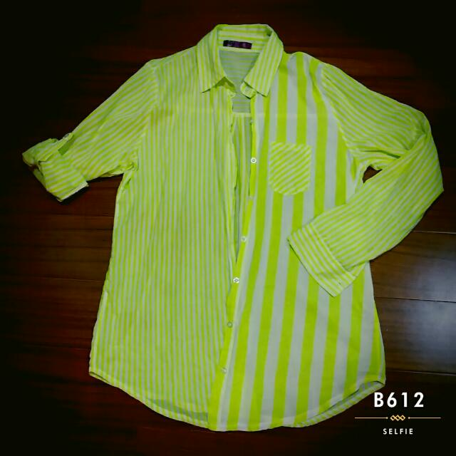 ✔螢光黃條紋防曬外套長袖襯衫
