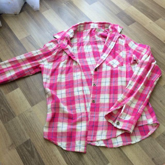 (全新)lulu's 桃花格子襯衫