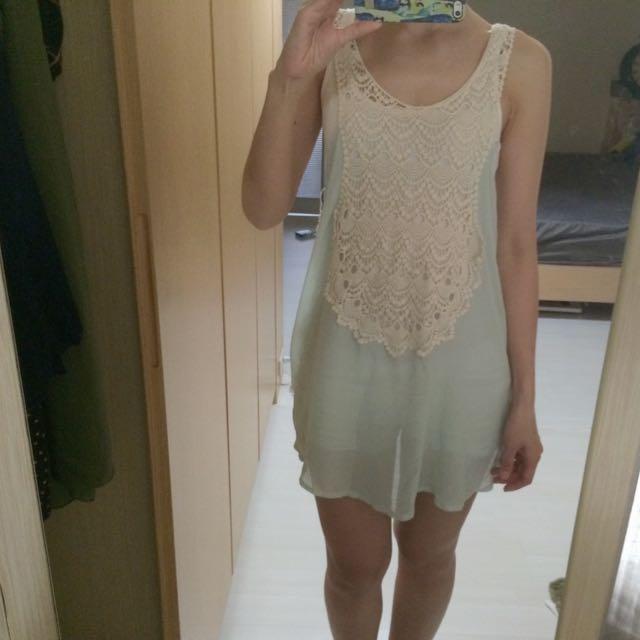 薄荷綠雪紡背心洋裝