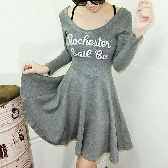 韓版氣質顯瘦內刷毛繡字母洋裝