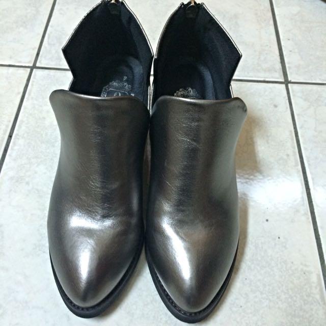 正韓古銅色粗跟鞋