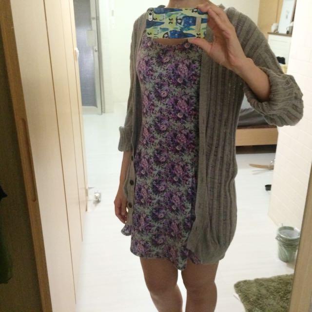 韓 復古紫花洋裝