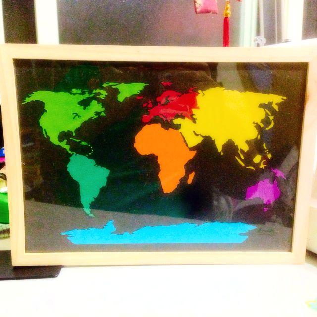 「手工」世界地圖 相框裝飾 可掛牆上