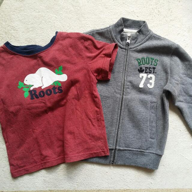 二手 Roots 男童3T 刷毛外套+短T
