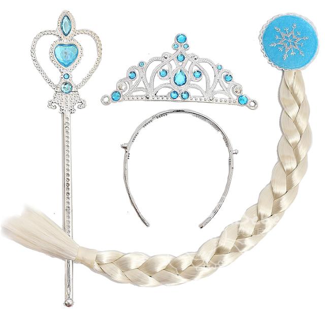 iBebe*現貨$180 冰雪奇緣FROZEN ELSA 愛紗 皇冠、魔法棒、假髮辮子 套裝三件組 萬聖節道具