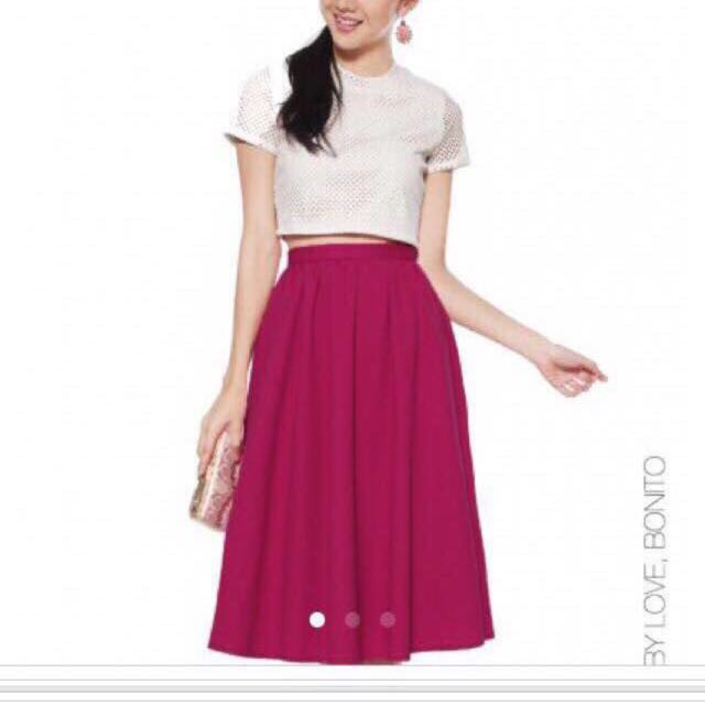 9f0b3e3a2a Lovebonito Covet Taylor Midi Skirt Fuschia Size M, Women's Fashion ...