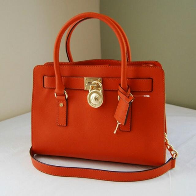 Michael Kors Hamilton Medium With Saffiano Leather In Tangerine Orange Luxury On Carou