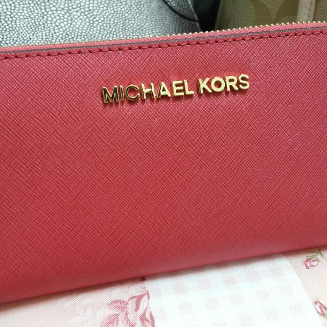 Micharl Kors 中夾 MK 珊瑚紅