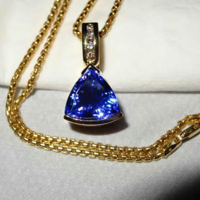 Tanzanite Necklace With Diamonds & Solid 14k Gold Chain - Jewellery