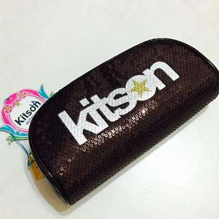 Kitson-深咖啡亮片化妝包